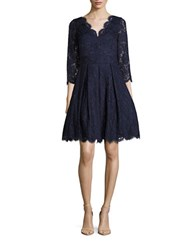 Eliza J Solid Fit And Flare Lace Dress Navy