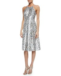 Phoebe Couture Halter Floral Jacquard Fit And Flare Dress Multi Colors