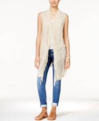 American Rag Open Knit Fringe Trim Long Sweater Vest Only At Macy's Oatmeal