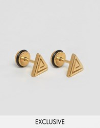 Reclaimed Vintage Triangle Stud Earrings Gold