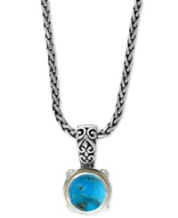 Effy Collection Turquesa By Effy Manufactured Turquoise Pendant Necklace 5 1 4 Ct. T.W. In Sterling Silver And 18K Gold Blue