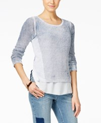 Inc International Concepts Petite Acid Wash Layered Look Sweater Only At Macy's Inkberry