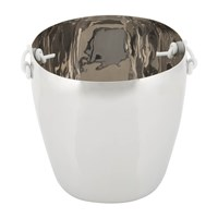 Tina Frey Designs Ice Bucket With Leather Handles Stainless Steel