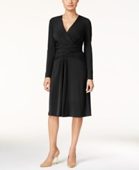 Thalia Sodi Ruched Faux Wrap Dress Only At Macy's Deep Black
