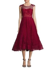 Marchesa Honeycomb Cap Sleeve A Line Dress Red