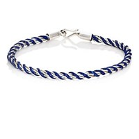 Caputo And Co. Sterling Silver Rope Chain Waxed Cord Bracelet Navy