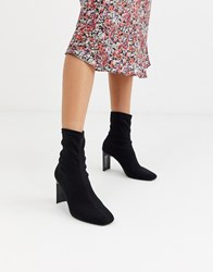 Bershka Setback Heeled Boots In Black