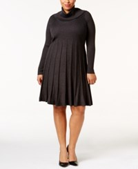 Calvin Klein Plus Size Pleated Sweater Dress Charcoal