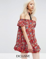 Milk It Vintage Off Shoulder Mini Festival Dress With Lace Up Choker In Paisley Red