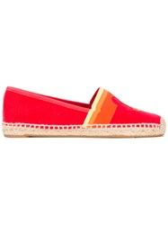 Tory Burch Logo Espadrilles Women Cotton Raffia Rubber 9 Red