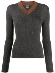 Lorena Antoniazzi Contrasting Ribbed V Neck Jumper Grey