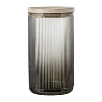 Bloomingville Ridged Glass Jar With Lid Grey
