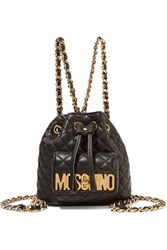 Moschino Quilted Leather Backpack Black
