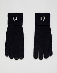 Fred Perry Merino Wool Logo Gloves In Navy