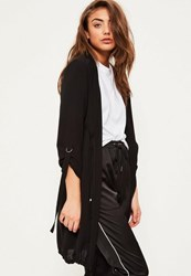 Missguided Black Bubble Crepe Gathered Waist Duster Jacket