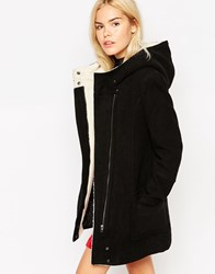 See U Soon Hooded Coat With Borg Lining Black