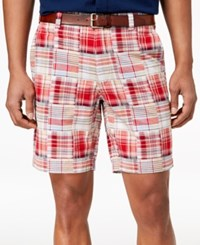 Club Room 9 Madras Shorts Red Combo