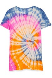 The Elder Statesman Tie Dyed Cashmere And Silk Blend T Shirt Pink