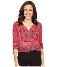 Lucky Brand Border Print Top Bright Rose Multi Women's Clothing Pink