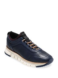 Cole Haan Zerogrand Laser Cut Leather Sneakers Marine Blue