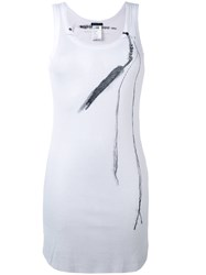 Ann Demeulemeester Feather Printed Tank Top Women Cotton Lyocell 38 White