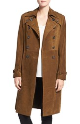 Rebecca Minkoff Women's 'Amis' Double Breasted Suede Trench Coat Olive