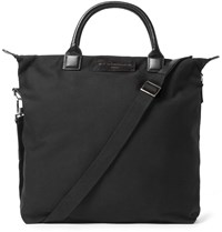 Want Les Essentiels O'hare Leather Trimmed Organic Cotton Canvas Tote Bag Black
