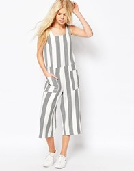 Asos Jumpsuit In Woven Stripe With Square Neck White