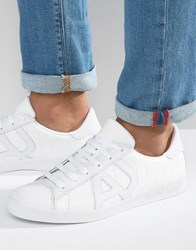Armani Jeans Croc Embossed Logo Trainers In White White