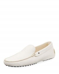 Tod's Leather Flat Slip On Moccasin White