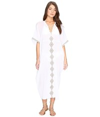 Vitamin A Isabell Long Caftan Cover Up Windswept Embroidered Gauze Women's Swimwear White