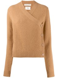 Bottega Veneta Buttoned Wrap Over Cardigan Neutrals