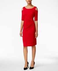 Connected Cold Shoulder Sheath Dress Red
