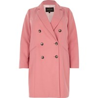 River Island Womens Plus Pink Double Breasted Coat