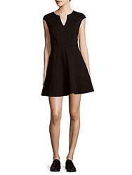 Halston Solid Fit And Flare Dress Black
