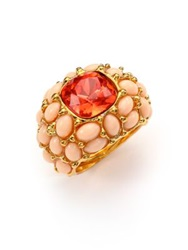 Kenneth Jay Lane Cabochon Cluster Cocktail Ring Gold Pink
