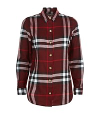 Burberry Check Cotton Military Button Shirt Female Burgundy