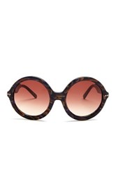 7 For All Mankind Women's Brown And Blue Marble Round Frame Sunglasses