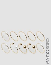 Asos Curve Pack Of 10 Faux Pearl Open And Mixed Rings Gold