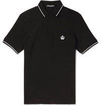 Dolce And Gabbana Slim Fit Contrast Tipped Cotton Pique Polo Shirt Black