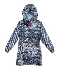 Joules Heart Print Hooded Pack Away Coat Blue