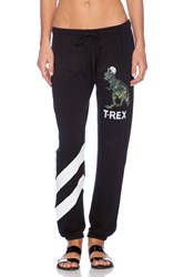 Lauren Moshi Frances T Rex Digital Stripe Sweatpant Black