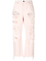 Alexander Wang Rival W Destroyed Jeans Cotton Pink Purple