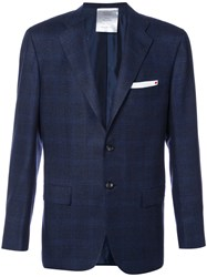 Kiton Plaid Blazer Men Cupro Cashmere 50 Blue