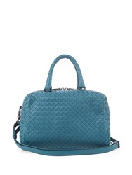 Bottega Veneta Boston Intrecciato Small Cross Body Bag Blue