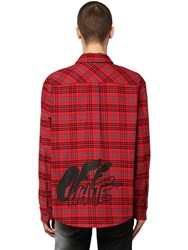 Off White Check Cotton Blend Flannel Shirt Red