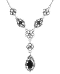 Genevieve And Grace Sterling Silver Necklace Onyx 3 8Mm And Marcasite Filigree Teardrop Necklace