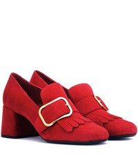 Prada Suede Pumps Red
