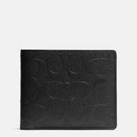 Coach Compact Id Wallet In Signature Crossgrain Leather Black