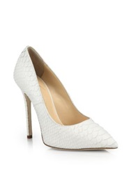 Giuseppe Zanotti Snakeskin Embossed Leather Point Toe Pumps White